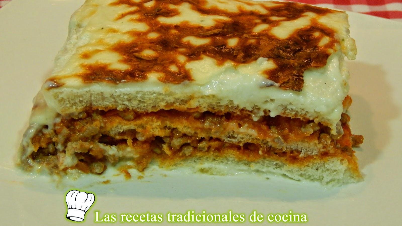 Receta de lasaa de carne con pan de molde Recetas de cocina con