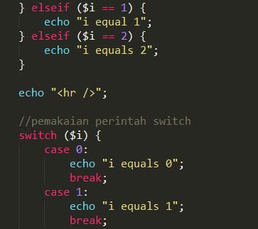 Penggunaan IF ELSE dan SWITCH di Pemrograman PHP
