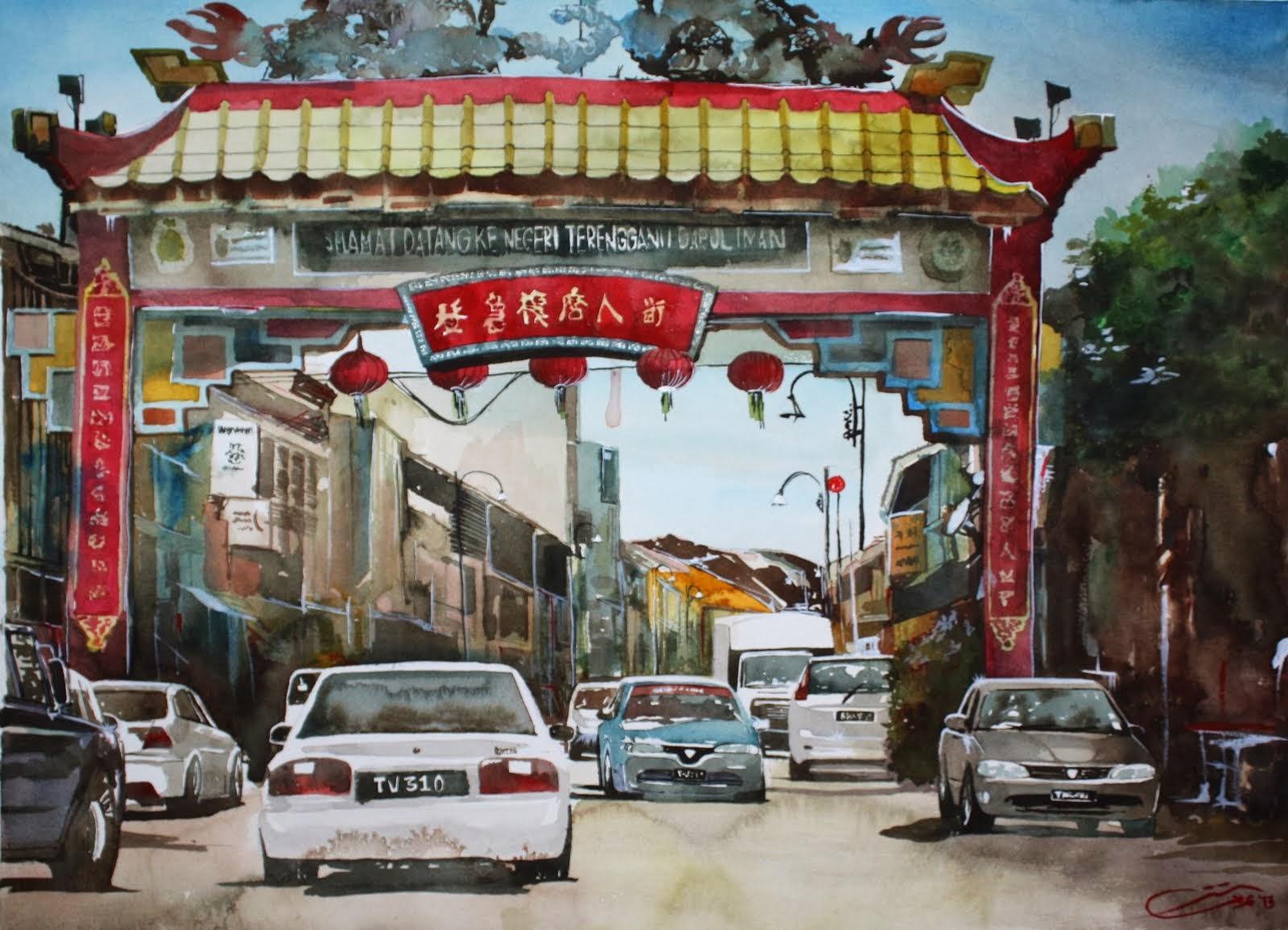Watercolour: Gerbang Kg. Cina, KT