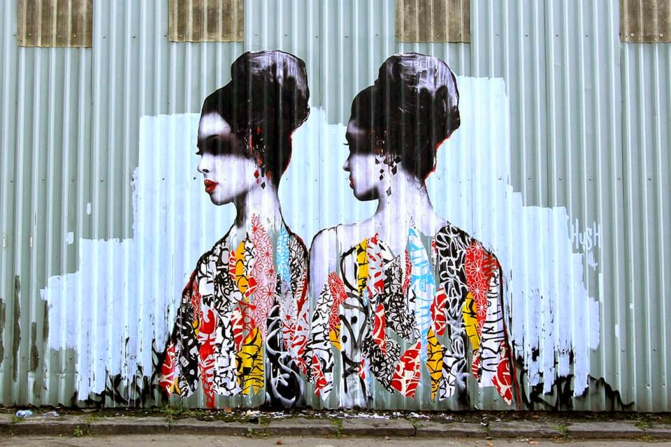 Hush was up early this morning in his hometown of Newcastle in the UK where he spent a few hours working on a new artwork.