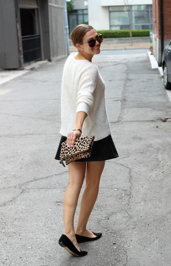 White Sweater Fluted Black Skirt