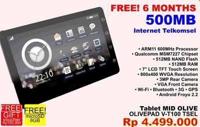Tablet MID OLIVE a.k.a OLIVEPAD V-T100 TSEL Price harga