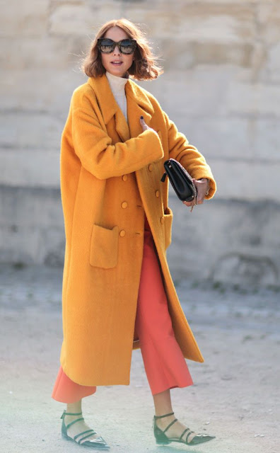 fashion week streetstyle bright coat