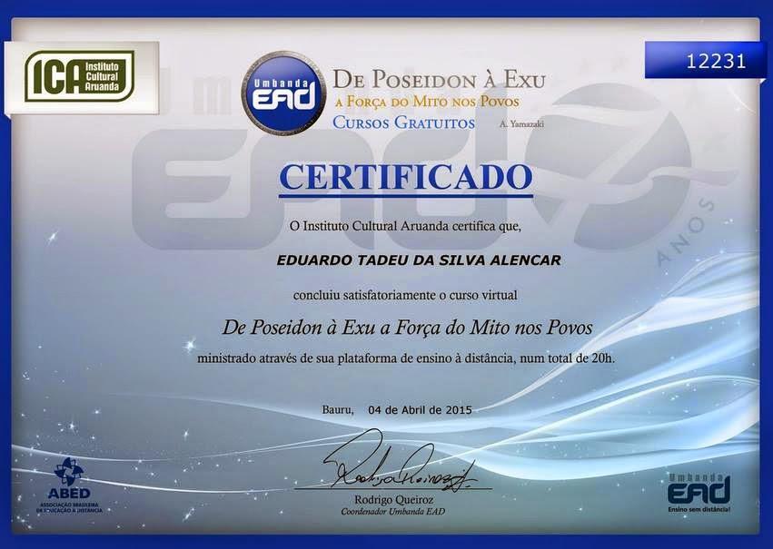 """Certificado do curso: """"De Poseidon à Exu""""!"""