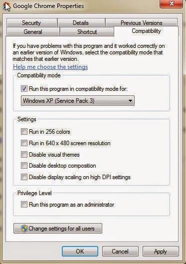 Chrome Compatibility Settings