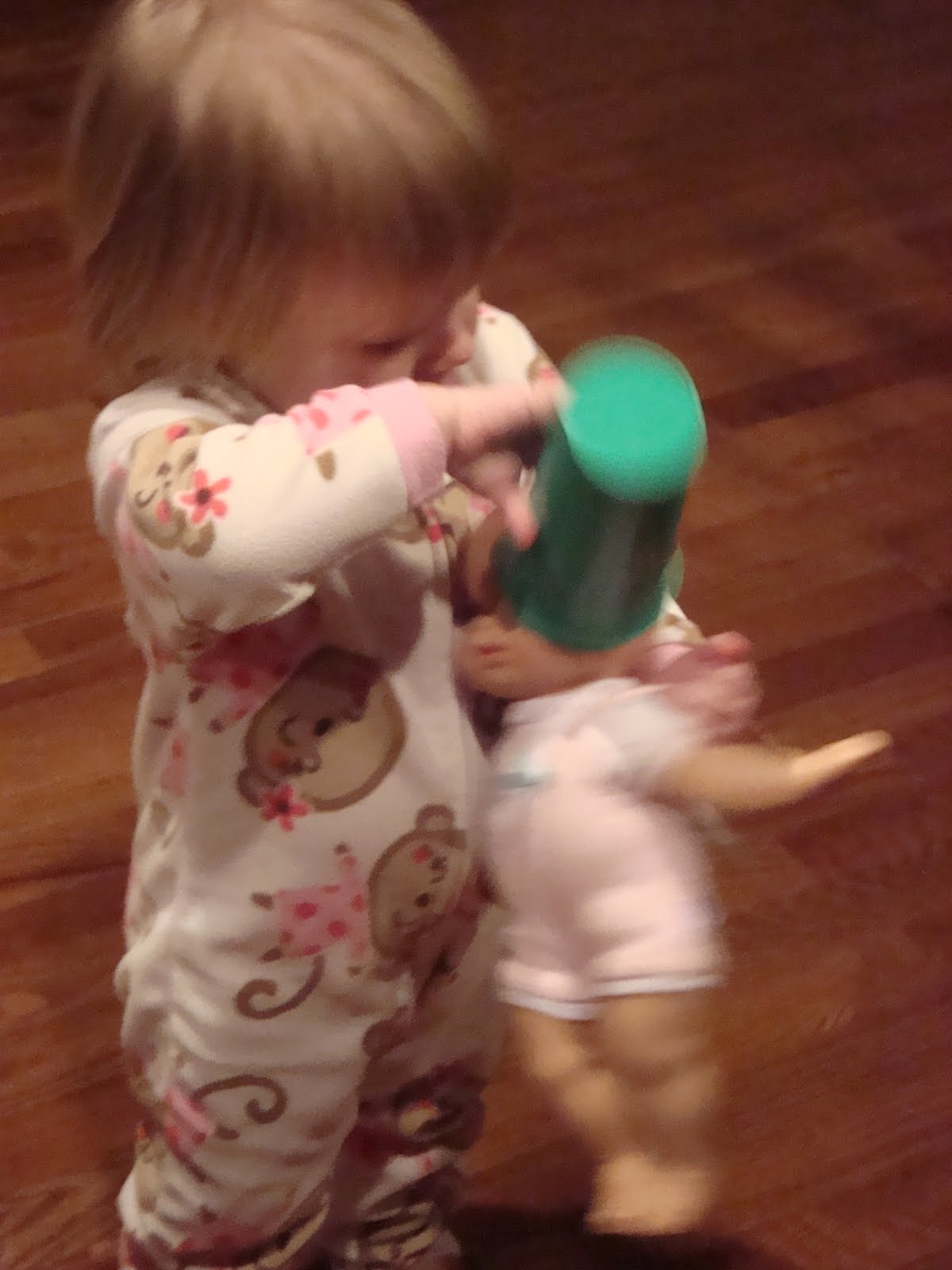 Mommy pushes her favorite toy inside