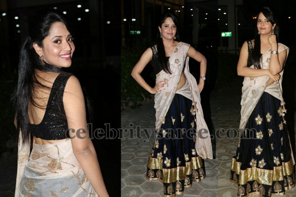 Anasuya Black Half Saree