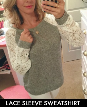Lace Sleeve Sweatshirt
