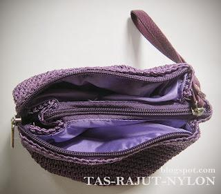cara membuat tas rajut, dompet rajut nylon, pola tas rajut, tas rajut