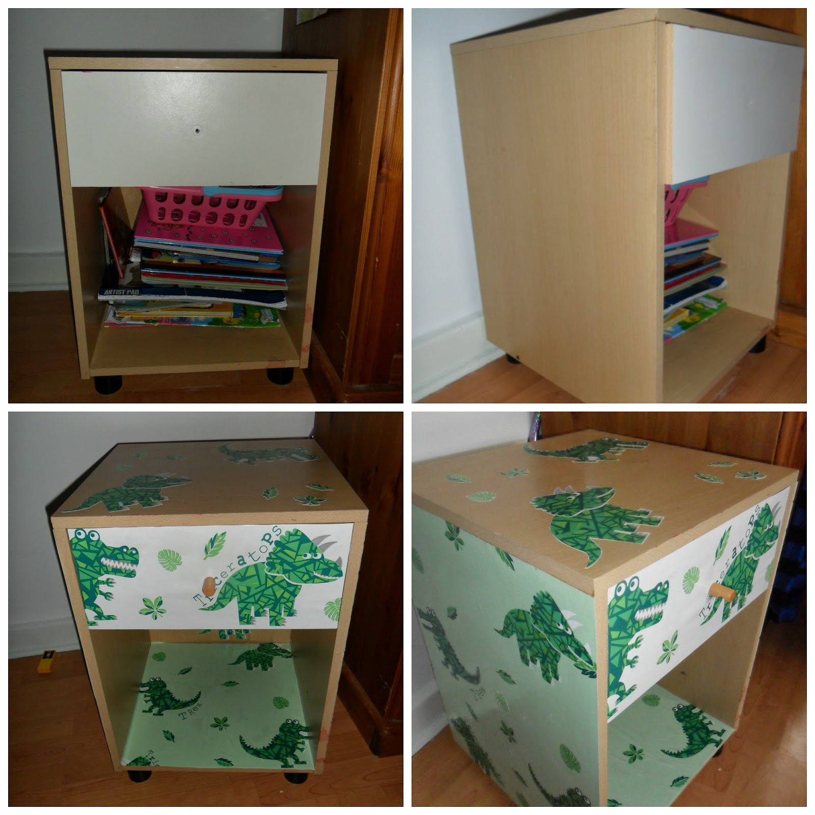 upcycled furniture dinosaur bedside table
