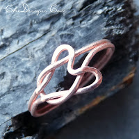 heart love knot ring in copper, handmade from copper wire