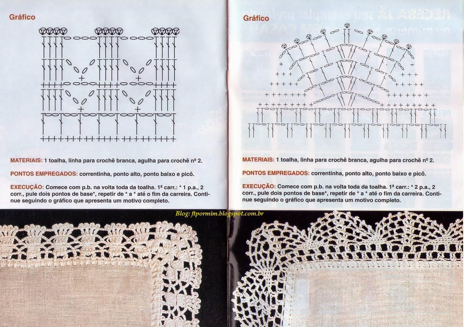 toalhas de tecido com bicos de crochê