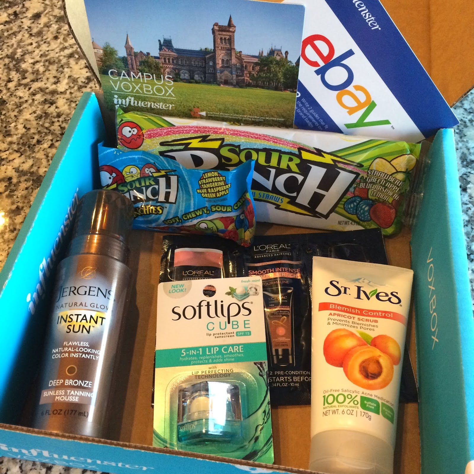 beauty, influenster campus voxbox, jargons natural glow, sour punch, soft lips cube, loreal ultimate straight, stoves blemish control apricot scrub,