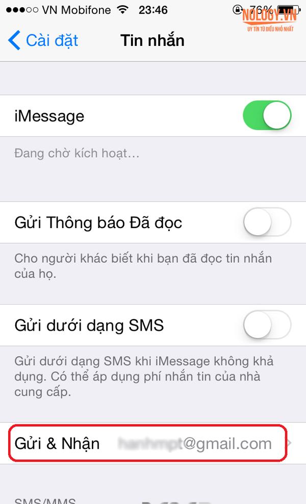 Message đã hiển thị số điện thoại trên iphone 5c lock