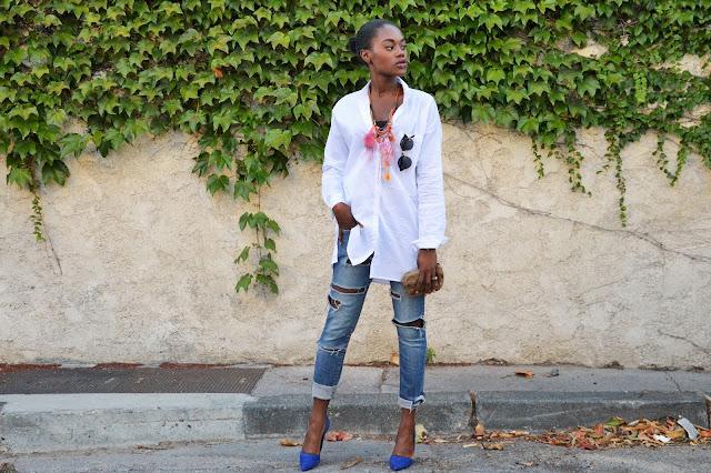 blog mode afro, jean déchiré, chemise loose, escarpins pointus