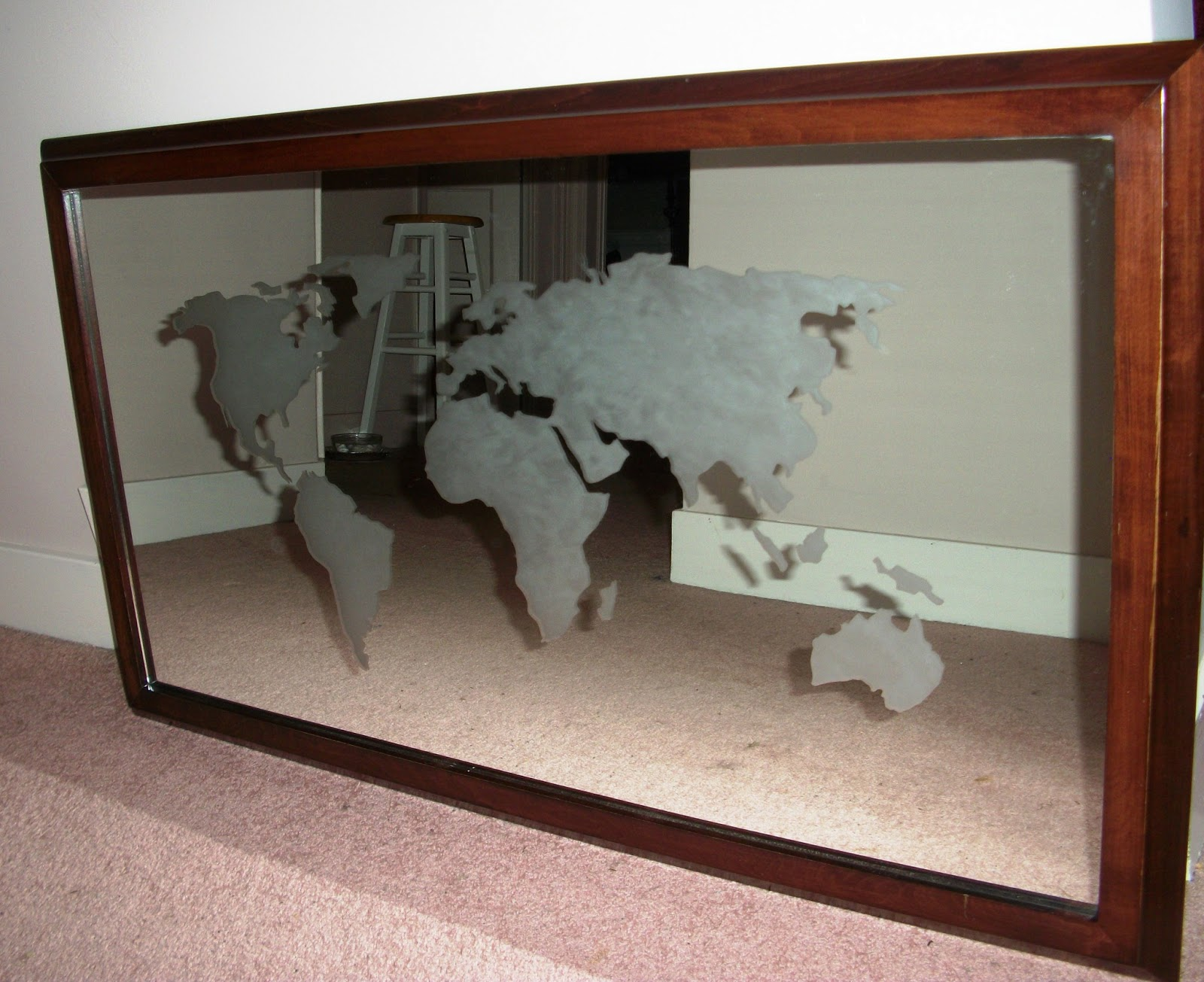 Fay grayson home easy art world map mirror a functional art piece for your bedroom office or to create interest in the hallway you can use acid etching cream on any glass surface gumiabroncs Gallery