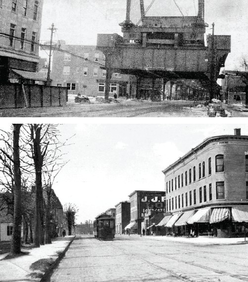 (Top) The EL train being built in March, 1916 at Forest Parkway and Jamaica Avenue. (Bottom) The wide open skies of Forest Parkway and Jamaica Avenue before the EL Train was built. The building at right still stands at that location. Courtesy of  The Woodhaven Cultural and Historical Society and Times Newsweekly.