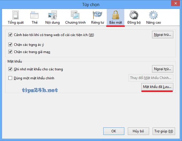 Hiện các mật khẩu đã lưu trên trình duyệt firefox
