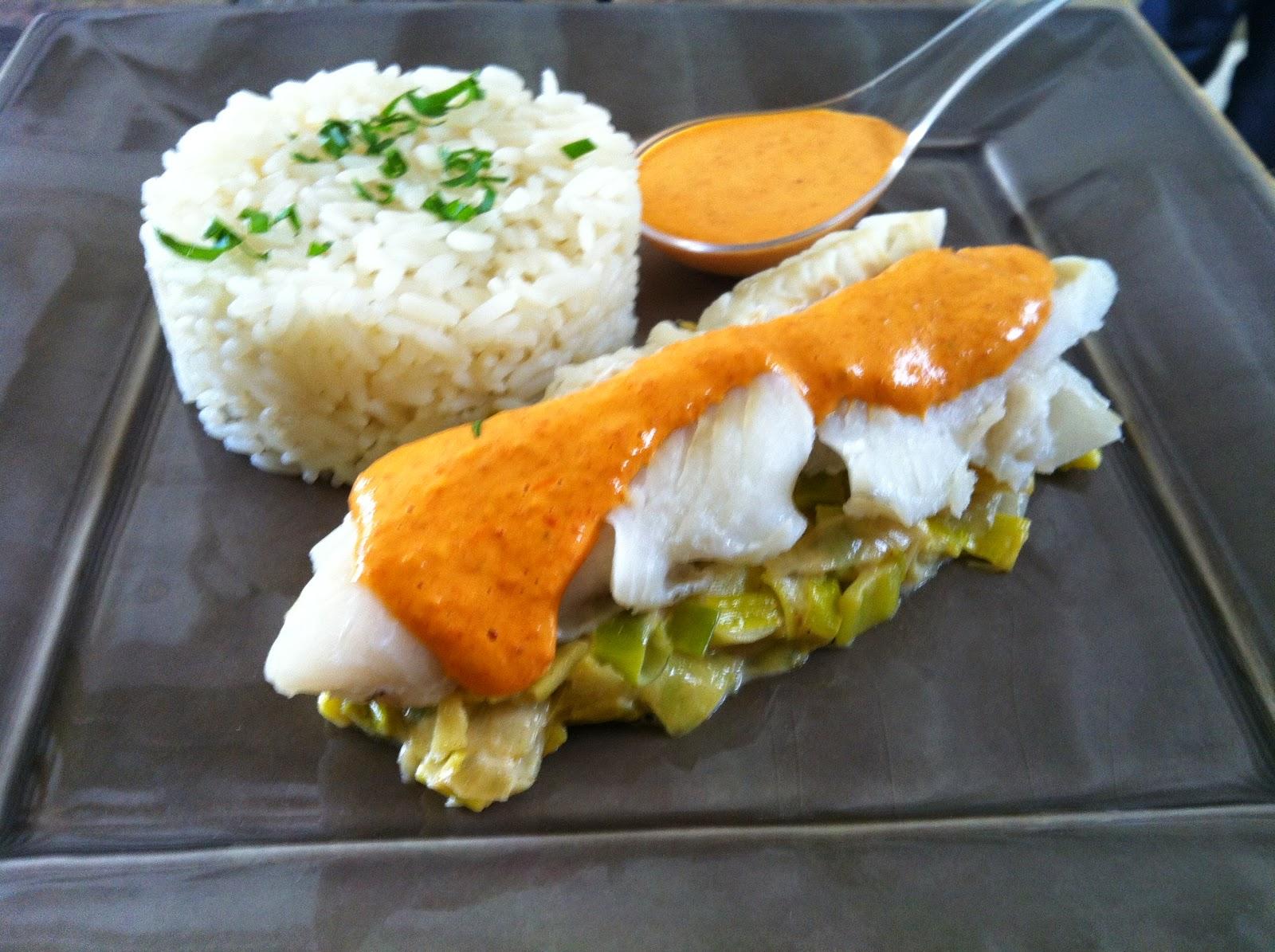 """alt=""""cabillaud et sauce au chorizo"""""""