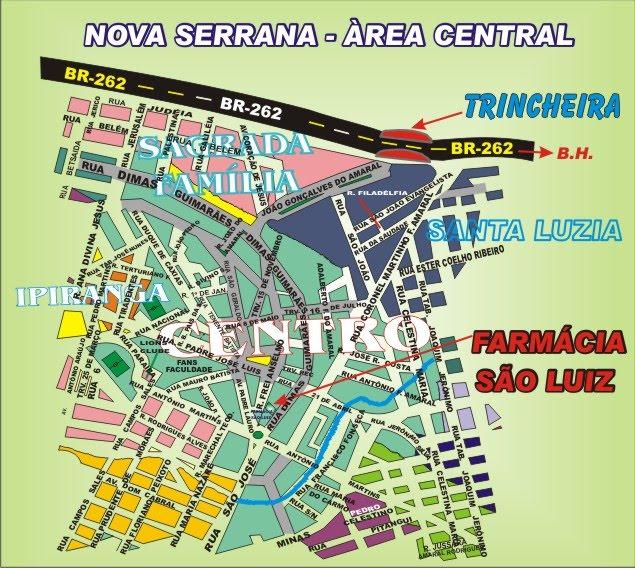 Mapa da Àrea Central de Nova Serrana