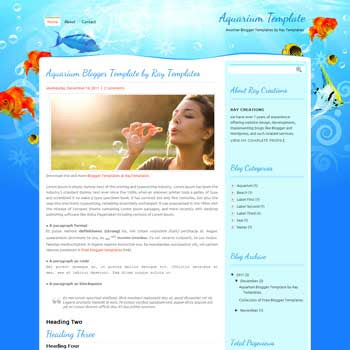 Aquarium blogger template. download personal blogger template. free blogspot template