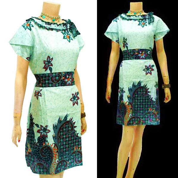 DB3627 Mode Baju Dress Batik Modern Terbaru 2014