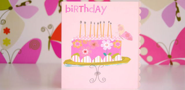 pink birthday cake photo candles cake stand butterfly greeting cards stationery designers Liz and Pip Ltd