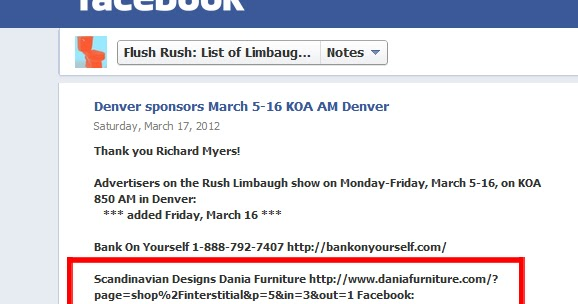 How Dania Furniture Ruined My Life Forever: Dania Furniture Advertises On  Rush Limbaugh Show. Gets Lambasted By Everyone And Their Respective Moms.