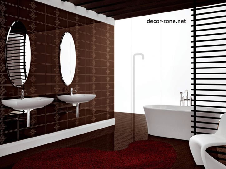 Modern bathroom design ideas in a brown color for Brown tile bathroom ideas