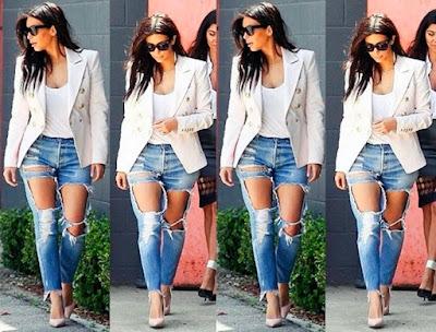 kim kardashian calca jeans mega rasgo destroyed