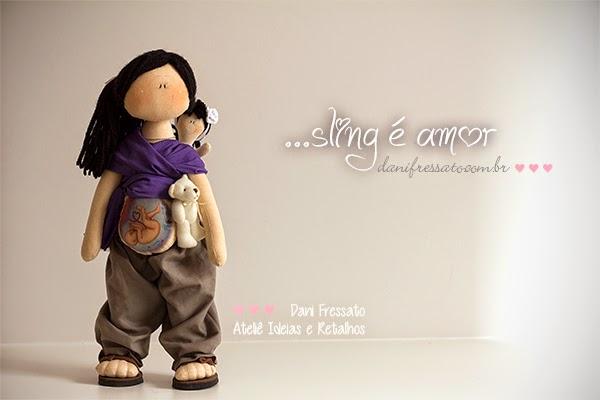 Boneca grávida de tecido com ecografia natural e sling Ideias e Retalhos por Dani Fressato