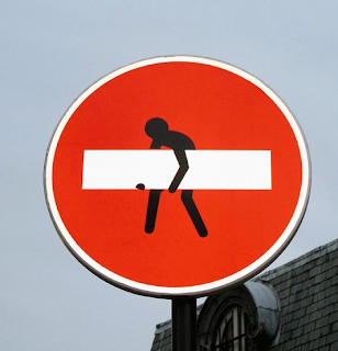 funny traffic sign forbidden to drive