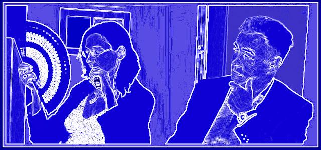 Blaues, stilisiert wirkendes Schattenrissbild, links die Dolmetscherin mit Fächer und geschlossenen Augen, rechts ein Mann, Kinn auf die Hand gestützt, der zu ihr hinübersieht