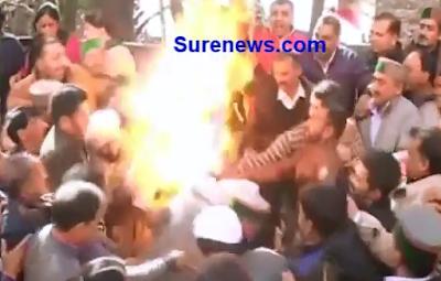 Protestantes se Hacen Arder por Accidente