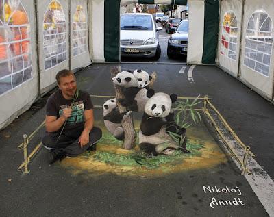 3d chalk drawing - panda art - panda street art