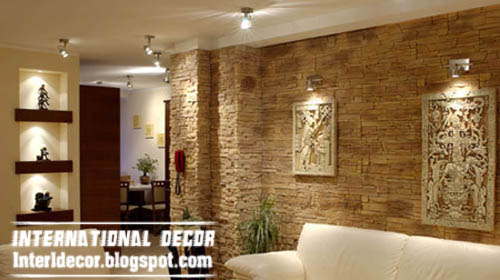 Interior stone wall tiles designs ideas modern stone tiles - Tiles design for living room wall ...