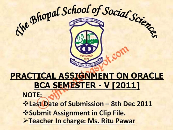 Practical Assignment on Oracle 2011 Sem V