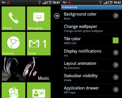 Launcher 7 App change Android becomes WP7