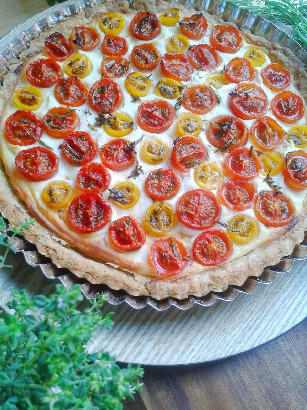 tarta ricotta y tomates