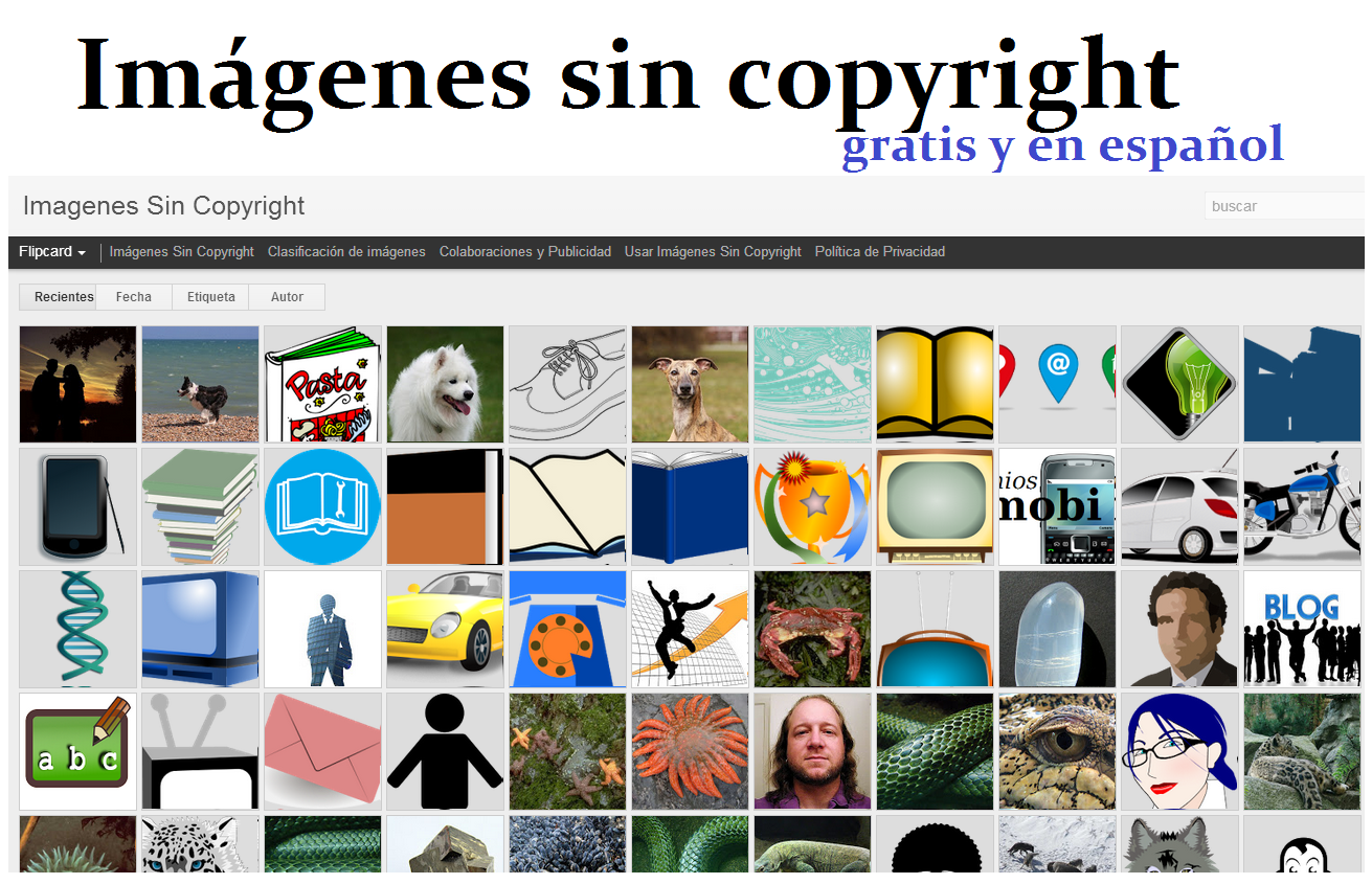 captura de pantalla del blog Imagenes Sin Copyright