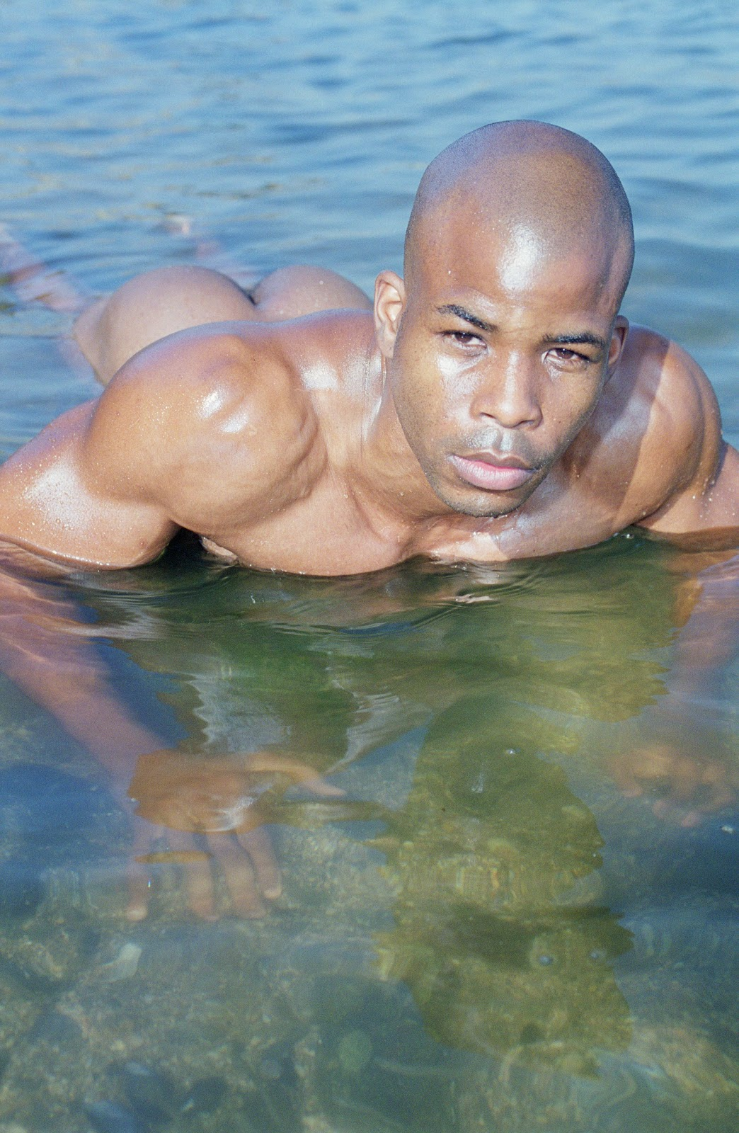 water on male Nude models