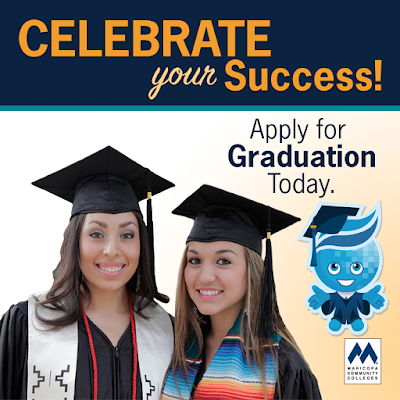 Celebrate your success.  Apply for graduation.  Image of two young Latina women and Rio Mascot Splash in graduation attire, smiling at the camera.