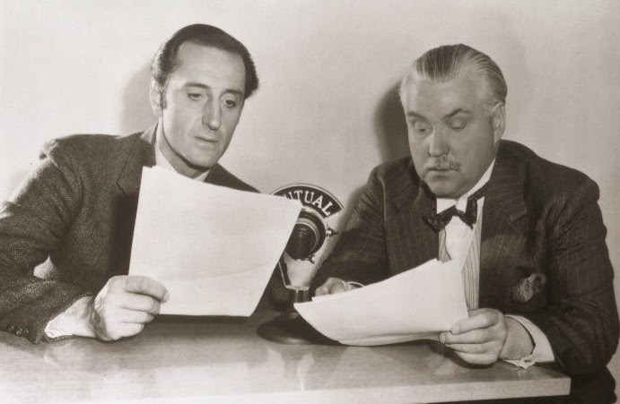 Basil Rathbone as Sherlock Holmes with Nigel Bruce as Dr. Watson on the Mutual Broadcasting System