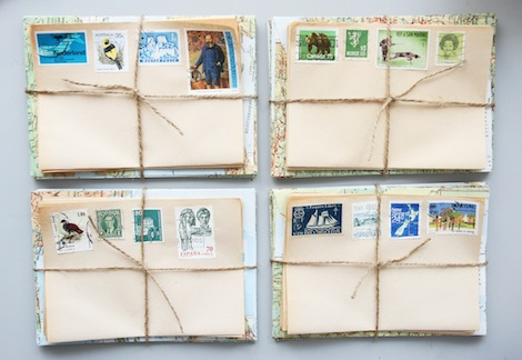 diy vintage map letter writing set