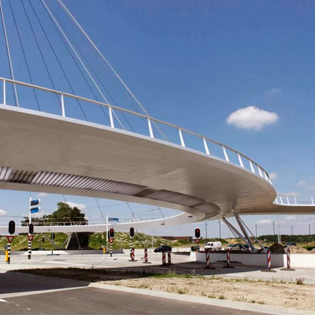 The Hovenring is a suspended bicycle path roundabout on the border between Eindhoven and Veldhoven in the Netherlands. It is the first suspended bicycle roundabout in the world.