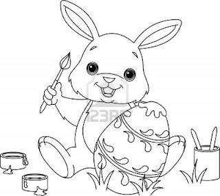 Tranh tô màu hình con thỏ trắng