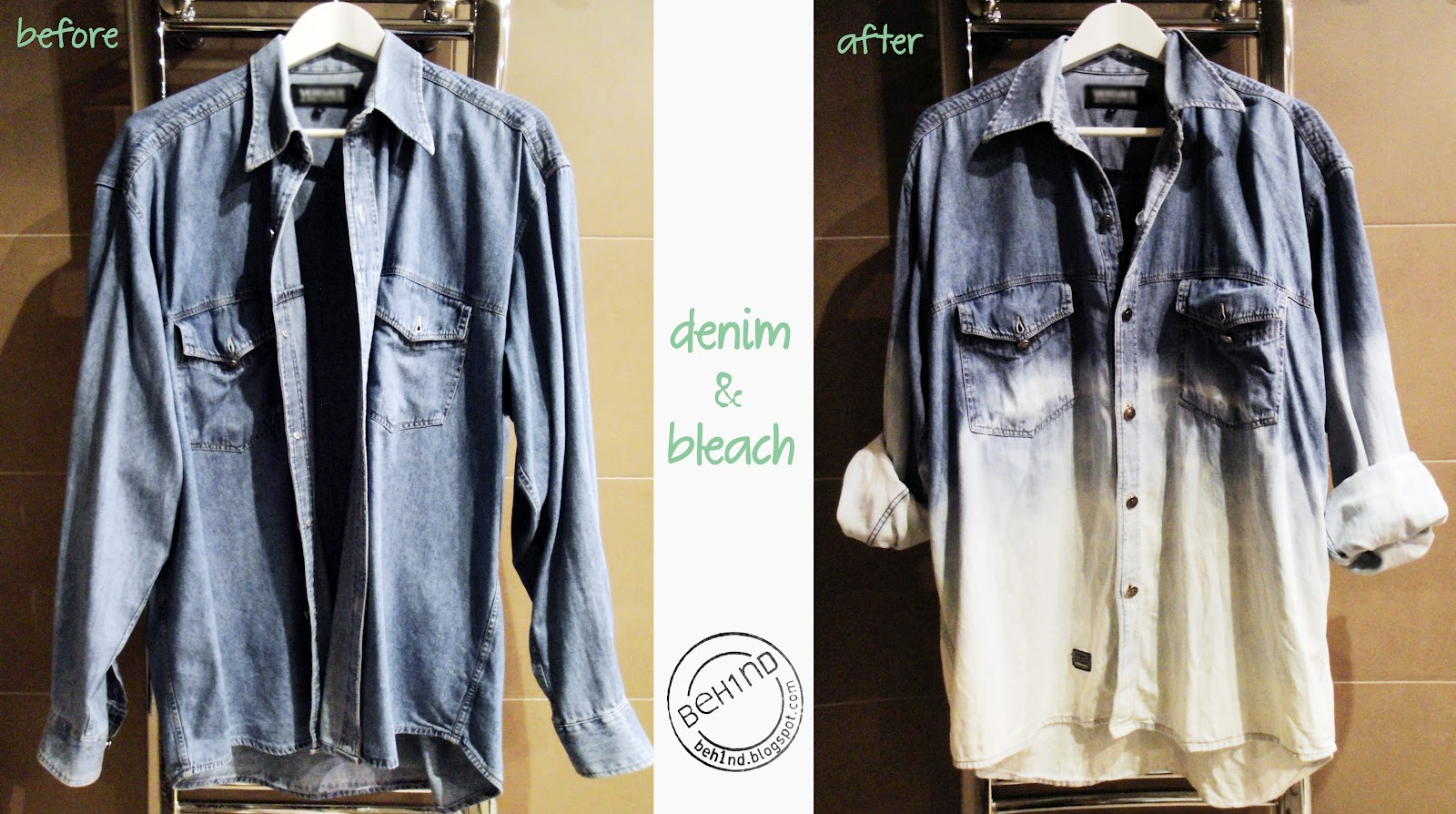Beh1nd: Our DIY: bleach denim shirt