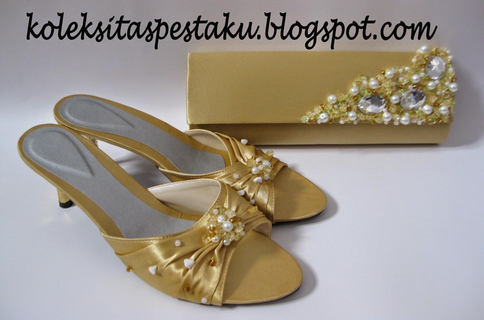 Tas Pesta Dan Sandal High Heels Gold Mutiara Putih Unik