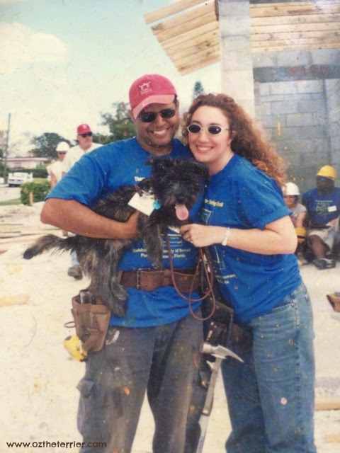Oz the Terrier visits a Habitat for Humanity construction site