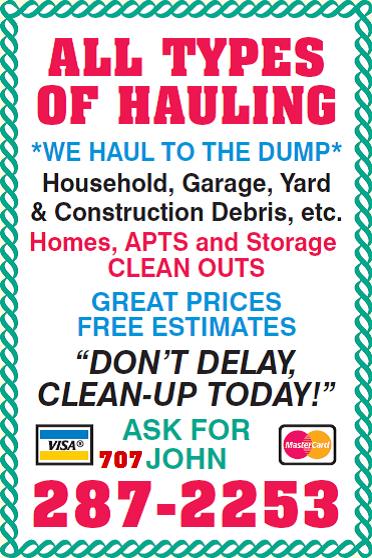 All types of hauling junk and debris removal vacaville junk hauler junk remover debris hauler garbage disposal trash hauler dump colourmoves